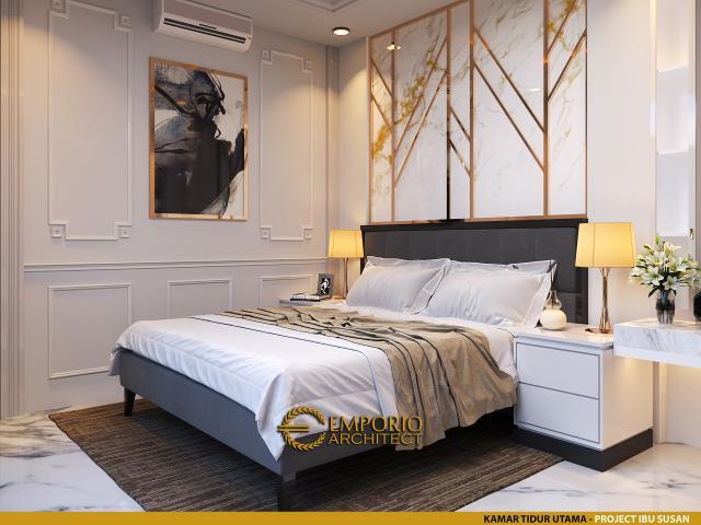 Desain Kamar Tidur Utama Rumah Modern 2 Lantai Ibu Susan di Bandung