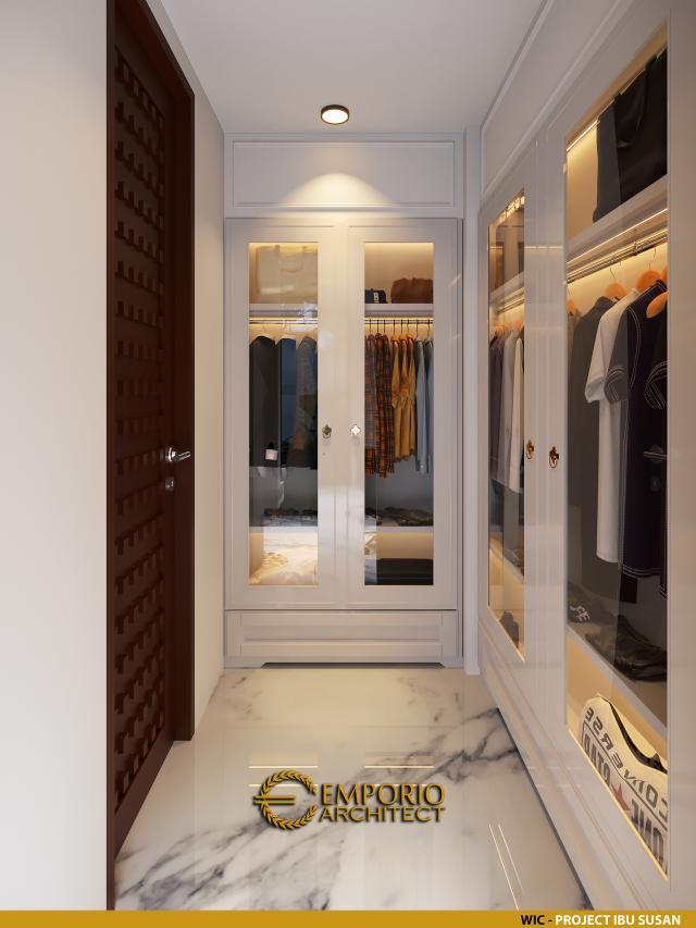 Desain Walk In Closet Rumah Modern 2 Lantai Ibu Susan di Bandung