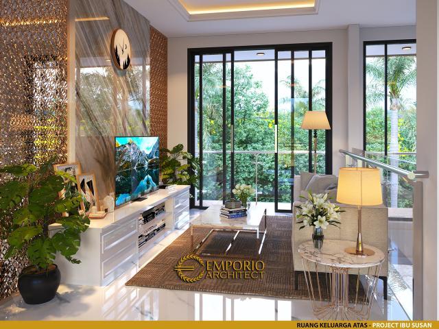 Desain Ruang Keluarga Atas Rumah Modern 2 Lantai Ibu Susan di Bandung