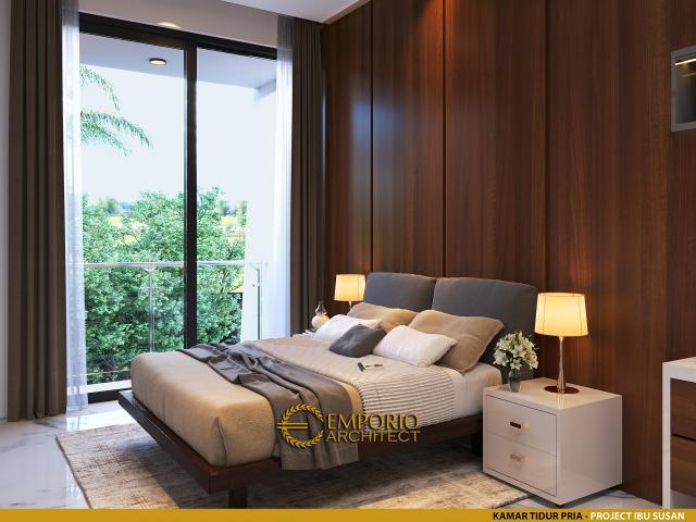 Desain Kamar Tidur Pria Rumah Modern 2 Lantai Ibu Susan di Bandung