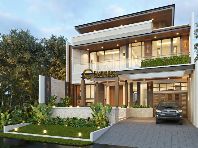 Desain Rumah Modern 2 Lantai Ibu Juliana di Cikarang, Bekasi, Jawa Barat - Tampak Depan