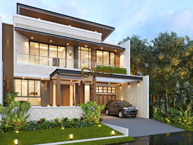 Desain Tampak Depan 2 Rumah Modern 2 Lantai Ibu Juliana di Cikarang, Bekasi, Jawa Barat