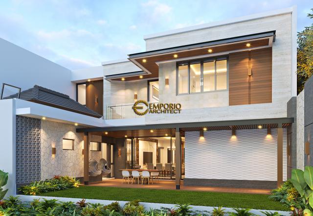 Desain Tampak Belakang Rumah Modern 2 Lantai Ibu Juliana di Cikarang, Bekasi, Jawa Barat
