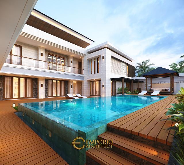 Desain Tampak Detail Belakang Rumah Modern 2 Lantai Bapak Hendry II di Banjarmasin, Kalimantan Selatan