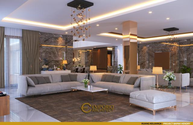 Desain Ruang Keluarga Rumah Modern 2 Lantai Bapak Hendry II di Banjarmasin, Kalimantan Selatan