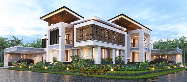 Desain Rumah Modern 2 Lantai Bapak Hendry II di Banjarmasin, Kalimantan Selatan - Tampak Hook Tanpa Pagar