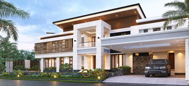 Desain Tampak Depan Rumah Modern 2 Lantai Bapak Hendry II di Banjarmasin, Kalimantan Selatan