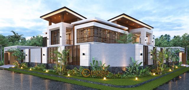 Desain Tampak Hook Dengan Pagar Rumah Modern 2 Lantai Bapak Hendry II di Banjarmasin, Kalimantan Selatan