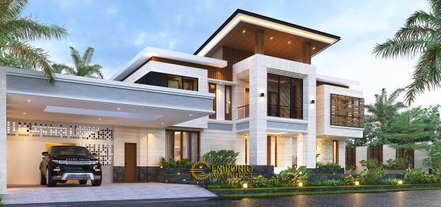 Desain Tampak Samping Rumah Modern 2 Lantai Bapak Hendry II di Banjarmasin, Kalimantan Selatan