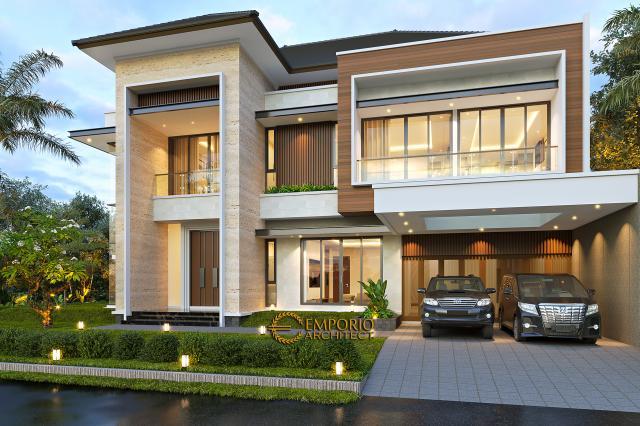 Desain Rumah Modern 2 Lantai Bapak Swanto di Tangerang, Banten - Tampak Depan