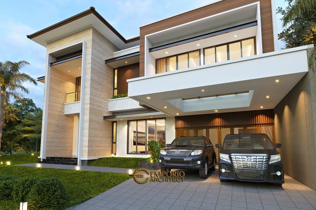 Desain Tampak Detail Depan 1 Rumah Modern 2 Lantai Bapak Swanto di Tangerang, Banten