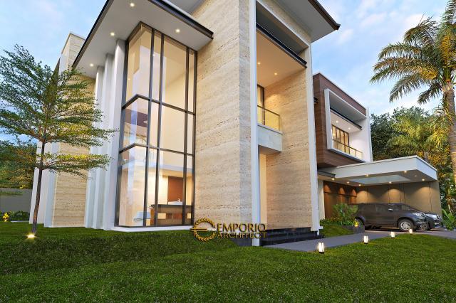 Desain Tampak Detail Depan 2 Rumah Modern 2 Lantai Bapak Swanto di Tangerang, Banten