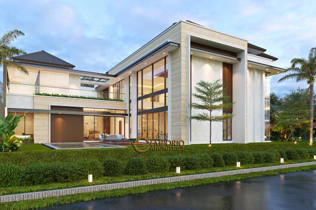 Desain Tampak Samping Rumah Modern 2 Lantai Bapak Swanto di Tangerang, Banten