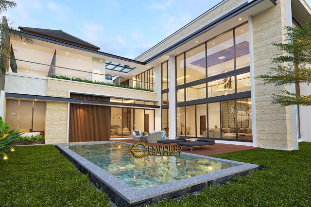 Desain Tampak Detail Belakang Rumah Modern 2 Lantai Bapak Swanto di Tangerang, Banten