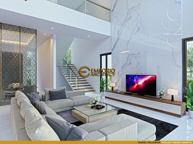 Desain Ruang Keluarga Rumah Modern 2 Lantai Bapak Swanto di Tangerang, Banten
