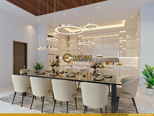 Desain Ruang Makan dan Dapur Rumah Modern 2 Lantai Bapak Swanto di Tangerang, Banten