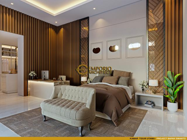 Desain Kamar Tidur Utama Rumah Modern 2 Lantai Bapak Swanto di Tangerang, Banten