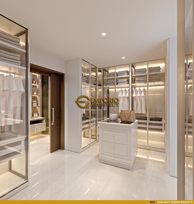 Desain Walk In Closet Rumah Modern 2 Lantai Bapak Swanto di Tangerang, Banten