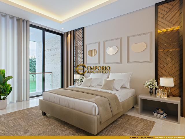 Desain Kamar Tidur Anak Rumah Modern 2 Lantai Bapak Swanto di Tangerang, Banten