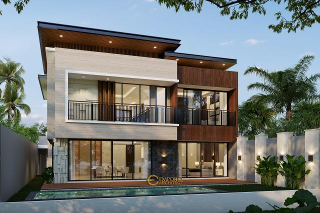 Desain Tampak Depan Rumah Modern 2 Lantai Bapak Ali di Denpasar, Bali