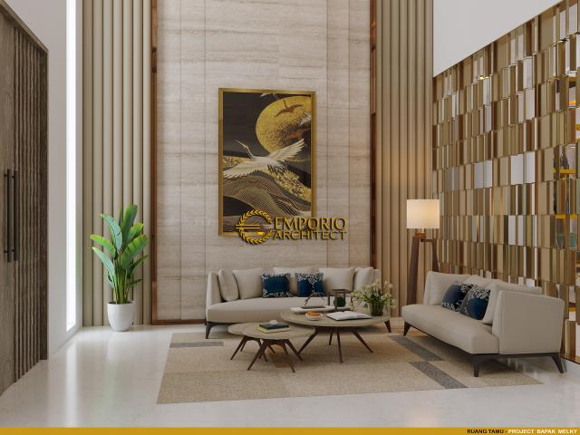 Desain Ruang Tamu Rumah Modern 2 Lantai Bapak Melky Tjiang di Palu, Sulawesi Tengah