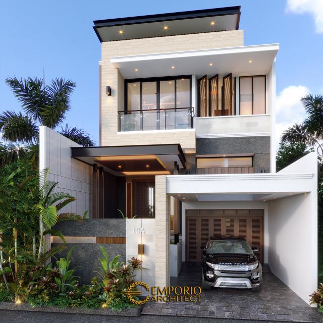 Desain Tampak Depan Rumah Modern 2 Lantai Bapak RM di Bogor, Jawa Barat