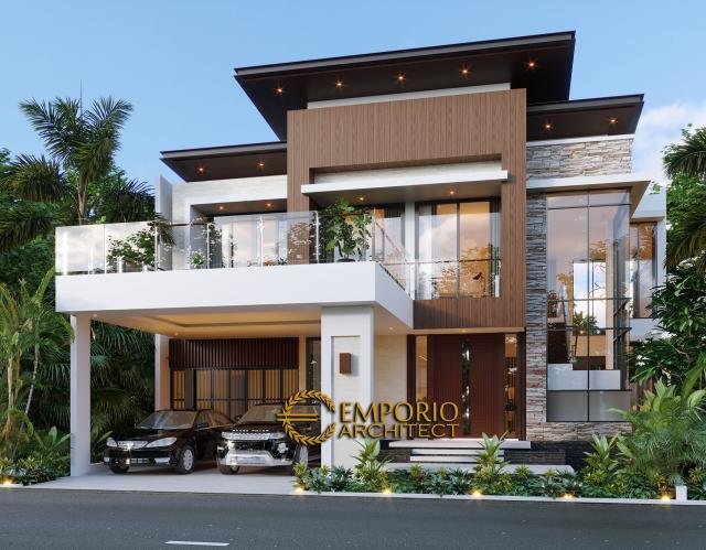 Desain Tampak Depan Rumah Modern 2 Lantai Bapak T di Citraland, Jakarta