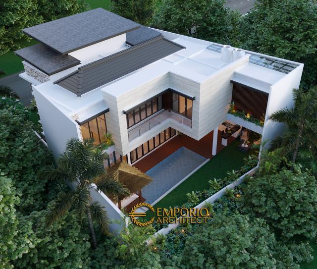 Desain Masterplan Tampak Belakang Rumah Modern 2 Lantai Bapak T di Citraland, Jakarta