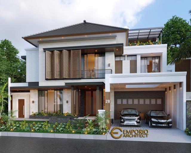Desain Tampak Depan 1 Rumah Modern 2 Lantai Ibu Irma di Semarang, Jawa Tengah