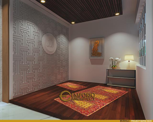 Desain Mushola Rumah Modern 2.5 Lantai Bapak Budi di Jakarta Timur