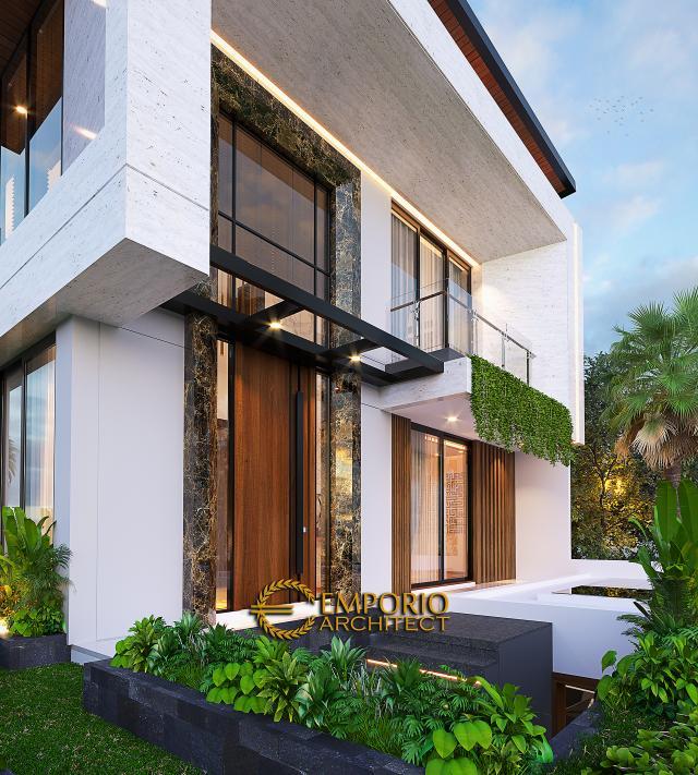 Desain Tampak Detail Depan Rumah Modern 2.5 Lantai Ibu Desi di Jakarta