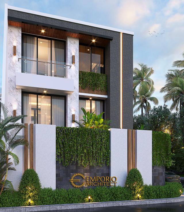 Desain Tampak Belakang Rumah Modern 2.5 Lantai Ibu Desi di Jakarta