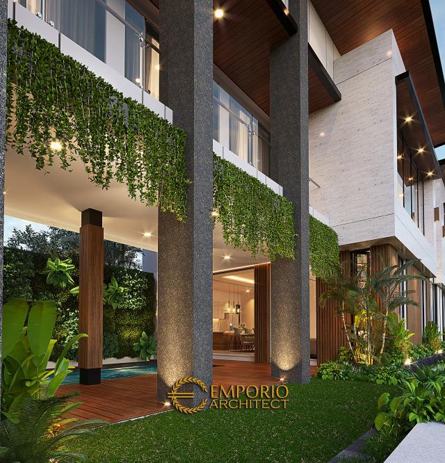 Desain Tampak Detail Belakang Rumah Modern 2.5 Lantai Ibu Desi di Jakarta