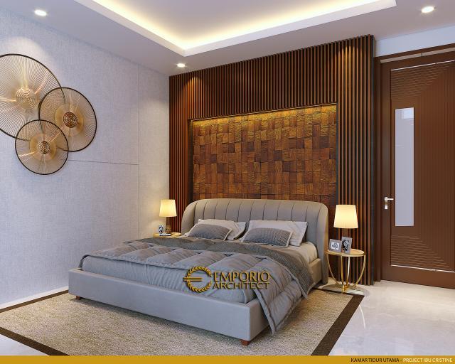 Desain Kamar Tidur Utama Rumah Modern 2.5 Lantai Ibu Cristine di Jimbaran, Badung, Bali