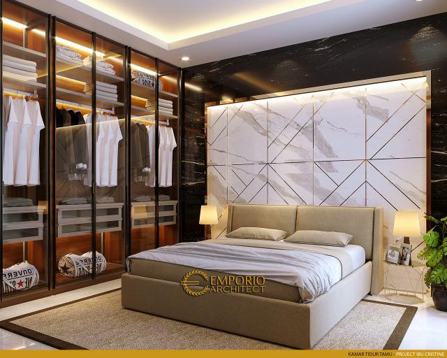 Desain Kamar Tidur Tamu Rumah Modern 2.5 Lantai Ibu Cristine di Jimbaran, Badung, Bali