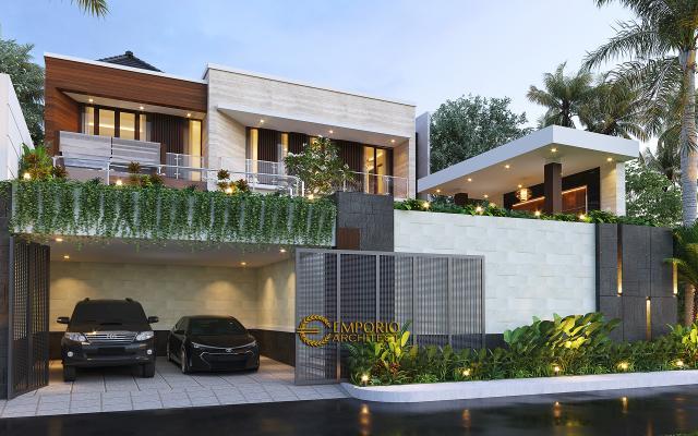 Desain Rumah Modern 2.5 Lantai Ibu Cristine di Jimbaran, Badung, Bali - Tampak Depan