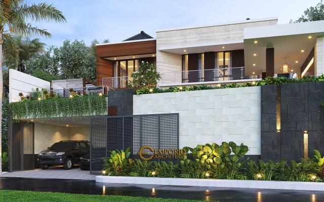 Desain Tampak Depan 2 Rumah Modern 2.5 Lantai Ibu Cristine di Jimbaran, Badung, Bali