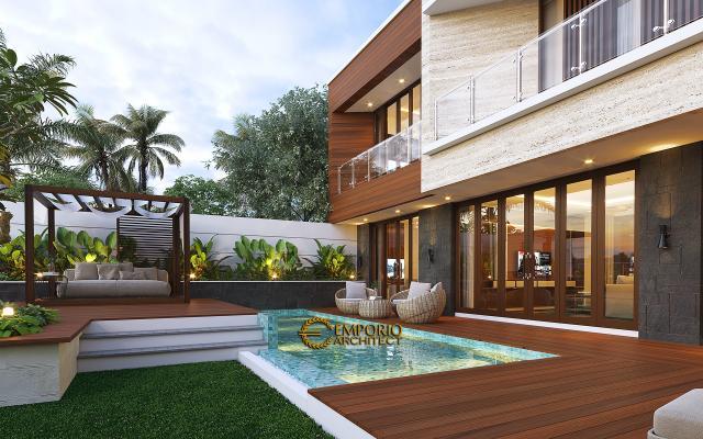 Desain Tampak Detail Belakang 1 Rumah Modern 2.5 Lantai Ibu Cristine di Jimbaran, Badung, Bali