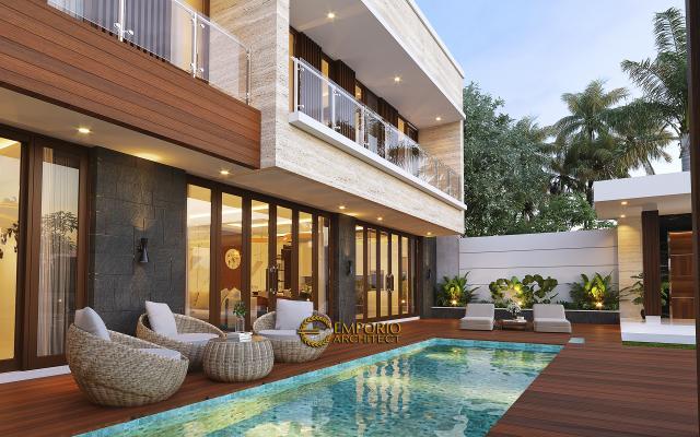 Desain Tampak Detail Belakang 2 Rumah Modern 2.5 Lantai Ibu Cristine di Jimbaran, Badung, Bali
