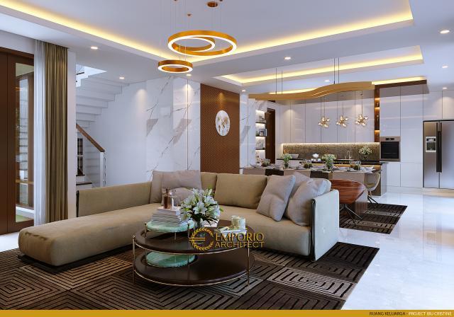 Desain Ruang Keluarga Rumah Modern 2.5 Lantai Ibu Cristine di Jimbaran, Badung, Bali