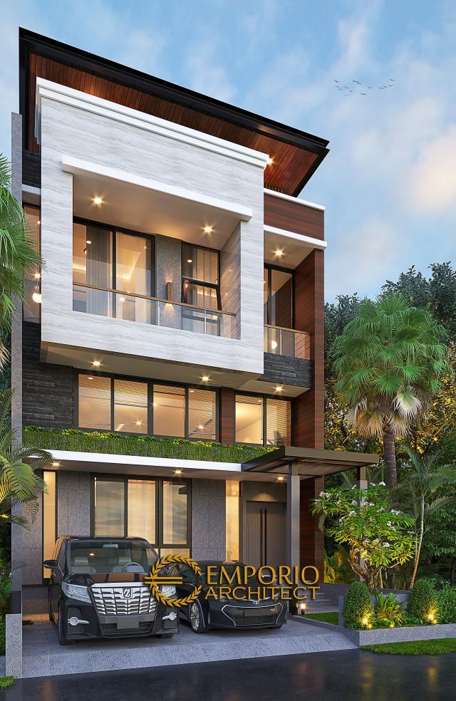 Desain Rumah Modern 2.5 Lantai Bapak David di Jakarta - Tampak Depan