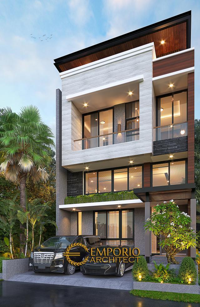 Desain Tampak Depan 2 Rumah Modern 2.5 Lantai Bapak David di Jakarta