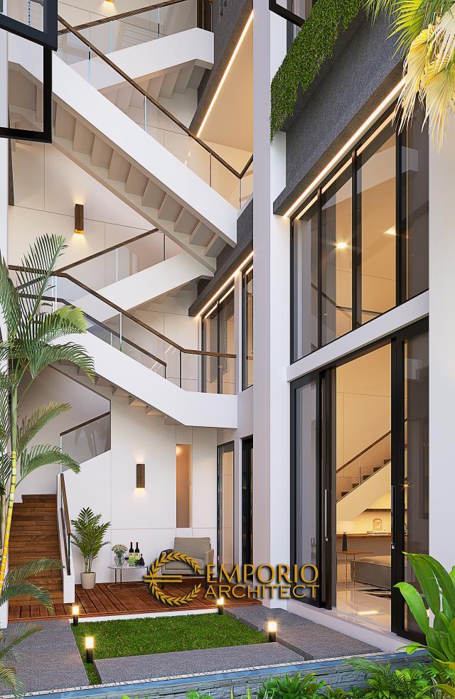 Desain Tampak Belakang umah Modern 2.5 Lantai Bapak David di Jakarta