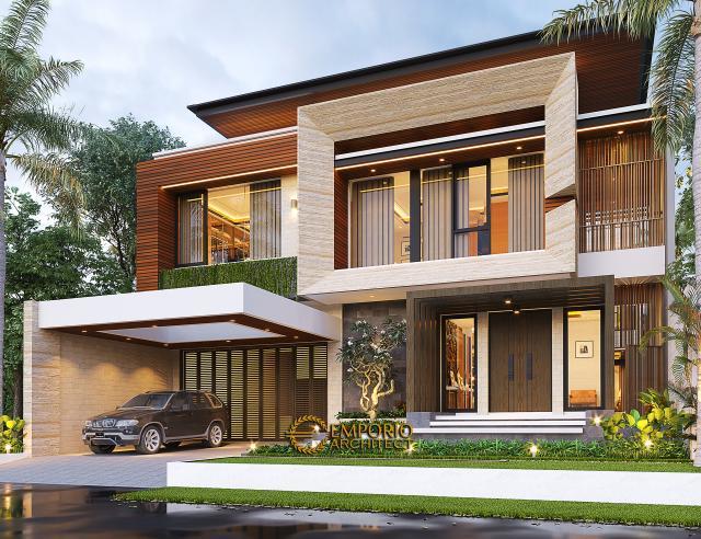 Desain Rumah Modern 2.5 Lantai Ibu Connie di PIK, Jakarta Utara - Tampak Depan