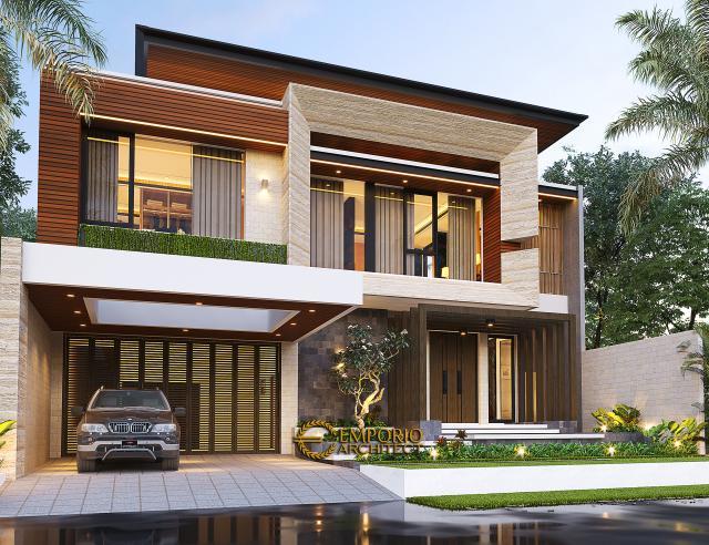 Desain Tampak Depan 2 Rumah Modern 2.5 Lantai Ibu Connie di PIK, Jakarta Utara
