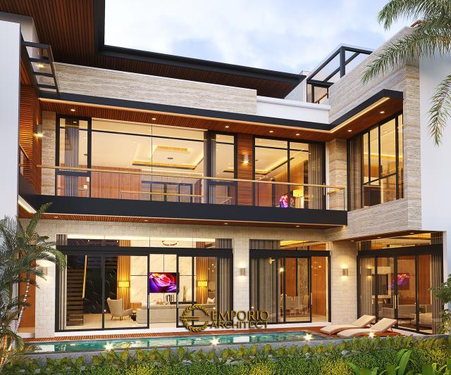 Desain Tampak Belakang Rumah Modern 2.5 Lantai Ibu Connie di PIK, Jakarta Utara