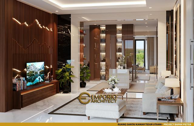 Desain Ruang Santai Kamar Tidur Utama Rumah Modern 2.5 Lantai Bapak Pieter di Makassar, Sulawesi Selatan