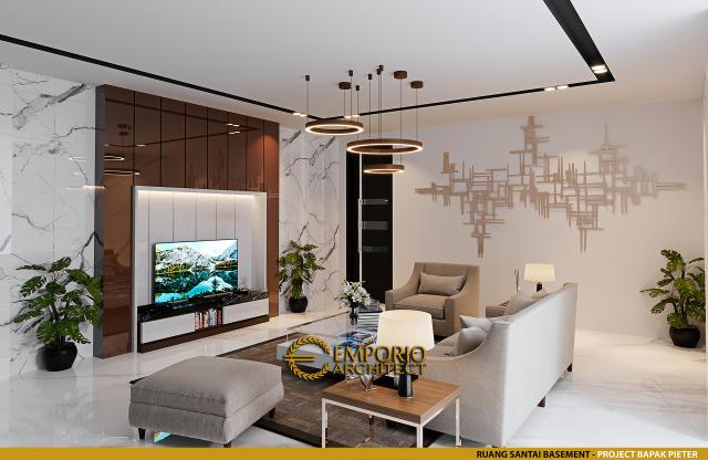 Desain Ruang Santai Basement Rumah Modern 2.5 Lantai Bapak Pieter di Makassar, Sulawesi Selatan