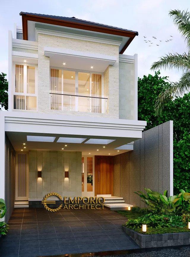 Desain Rumah Modern 2.5 Lantai Bapak Harjono di Jakarta - Tampak Depan