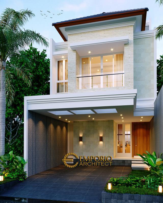 Desain Tampak Depan 2 Rumah Modern 2.5 Lantai Bapak Harjono di Jakarta